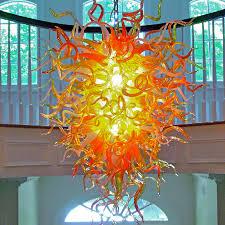 Orange Glass Chandelier Buy The Anemone 29 Hand Blown Glass Chandelier