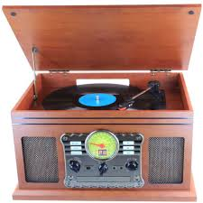 laser encore grand retro 3 speed turntable with built in stereo