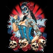 day of the dead t shirt pinup sugar skull roses