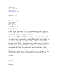 sample cover letter for fashion internship guamreview com