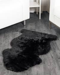 Faux Fur Sheepskin Rug 1 Pelt Charcoal Black Sheep Fur Rug Single Fursource Com