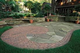 Irregular Stone Patio Backyard Landscapes With Natural Stone Patio Designs