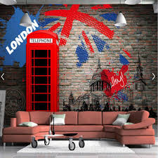 compare prices on london wall murals online shopping buy low european retro london red telephone booth brick backsplash wall murals 3d bedroom for living room photo