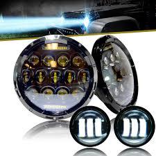 jeep black headlights xpe honeycomb array black led headlights led fog for jeep