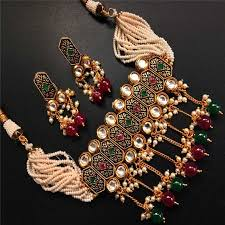 stone choker necklace images Traditional red green stone choker necklace for women jewellery jpg