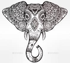 tribal vector elephant with tribal ornaments by itskatjas