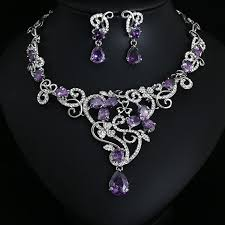 wedding necklace earrings images 58 purple earrings and necklace set purple amethyst sterling jpg