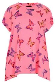 neon pink butterfly print top with diamante stud detail plus size