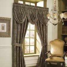 drapery panels with tuscan color with chandelier with black color
