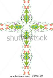 catholic christian cross elements inside stock vector
