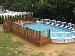 Backyard Landscaping Ideas With Pool by Above Ground Swimming Pool Deck Designs Stunning Above Pool