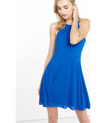 express fit and flare halter dress in blue lyst