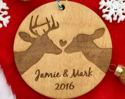 Christmas Decor With Deer by Couples Ornament Etsy