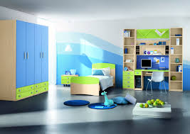 bedroom for couple green rukle blue wall with black cabinet and