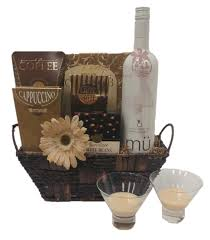 wine delivery gift vanilla latte wine gift basket from pompei baskets