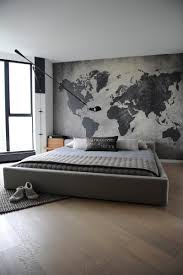 and white world maps wall art ideas bachelor pad in bedroom with