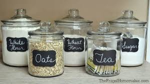 kitchen glass canisters chalkboard labels on glass jars glass food storage ideas for