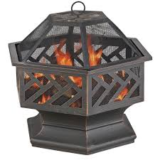 endless summer 24 8 in w x 24 in hexagon wood burning firepit