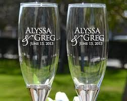 personalized glasses wedding just engaged personalized chagne glasses set of two