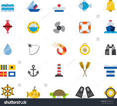 set marine nautical color flat icons stock vector 526008736