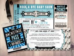 rock star concert ticket baby shower invitation coed baby shower
