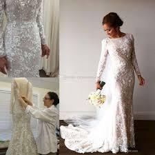 2017 vintage mermaid arabic wedding dresses long sleeve 3d floral