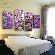 4 panel modern printed tree canvas wall art oil painting picture