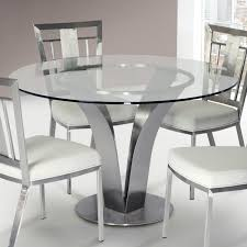 Dining Table Ls Contemporary Dining Table In Stainless Steel With Clear Tempered Glass