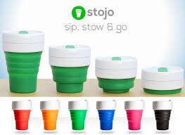 stojo collapsible silicone 12oz cup reusable leak proof travel