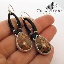 original earrings sterling leather and copper leopard jasper earrings tula