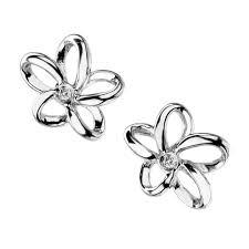 silver stud earrings uk hot diamonds de248 paradise open petal stud earrings sterling