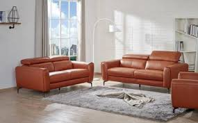 Leather Sofa Loveseat J M Cooper Contemporary Pumpkin Premium Italian Leather Sofa