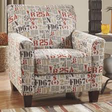 Patterned Accent Chair Alphabet Printed Accent Arm Chair With Brown Wooden Low Leg On