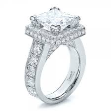 princess cut halo engagement ring custom princess cut and halo engagement ring 100124