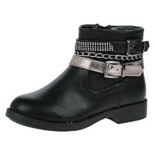 black biker style boots girls ankle boots kids childrens autumn winter biker style shoes