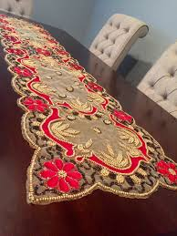 red and gold home decor beaded table runner sequin sequence hand beaded indian red and