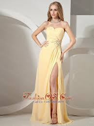 sweetheart neckline high slit yellow prom dress 134 22