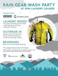 cycling outerwear join us this thursday for a rain gear wash party at spin laundry loung