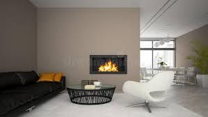 Modern Loft Furniture by Interior Of Modern Loft With Fireplace And Black Sofa 3d Render