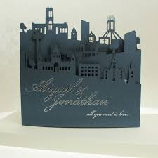 wedding invitations liverpool laser cut liverpool skyline concertina available in various