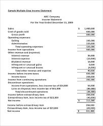 sample traditional income statement 2 15 sample income