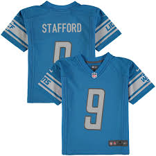 preschool nike matthew stafford blue detroit lions game jersey