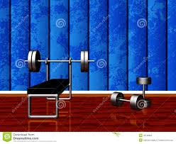 home gym with bench press and dumbbells stock illustration image
