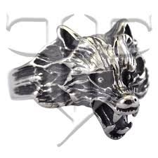 surgical steel band mens dire wolf ring surgical stainless steel band