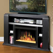 modern fireplace insert and black corner tv stand console cabinet
