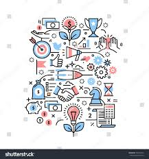 art startup business project concept modern thin line stock vector 580052542
