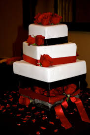 wedding cakes red black and white square wedding cakes red and
