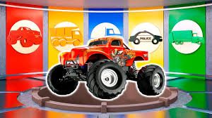 kids monster truck videos monster truck assembly for kids learn vechichles with colors