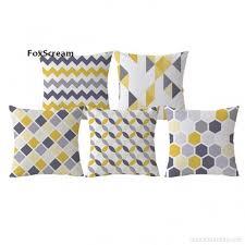 taie d oreiller pour canapé jaune décoratif coussins cas gris géométrique housse de coussin