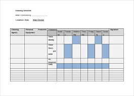 Bathroom Cleaning Schedule Form Sample Cleaning Schedule 8 Documents In Pdf Word